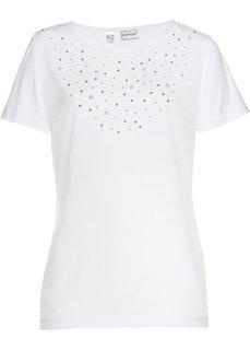 Блузка из трикотажа с бусинами (белый) Bonprix