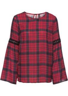 Блуза в клетку с заклепками (темно-красный/серый в клетку) Bonprix