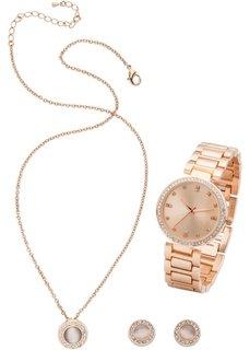 Комплект: часы + цепочка + серьги (3 изд.) (розово-золотистый) Bonprix