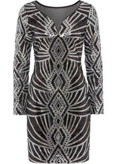 Платье вечернее, с пайетками (черный/серебристый с узором) Bonprix