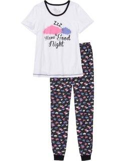 Пижама (белый/черный с рисунком) Bonprix