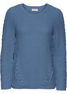 Пуловер с длинным рукавом и кружевной вставкой (синий джинсовый) Bonprix