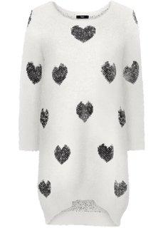 Пуловер с удлиненной спинкой и рукавами 3/4 (кремовый/черный) Bonprix