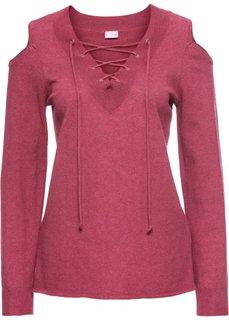 Пуловер на шнуровке с вырезами на плечах (светло-красный меланж) Bonprix