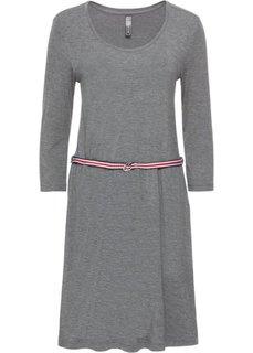 Платье с контрастным поясом (серый меланж) Bonprix