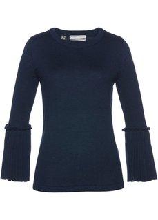 Пуловер с плиссировкой (темно-синий) Bonprix