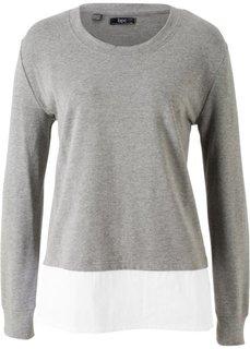 Свитшот с рубашечной вставкой (серый меланж) Bonprix