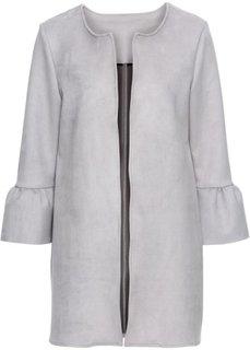 Пальто из искусственной замши с расклешенными рукавом (серый) Bonprix