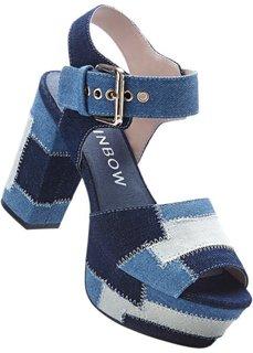 Босоножки на платформе (синий джинсовый) Bonprix
