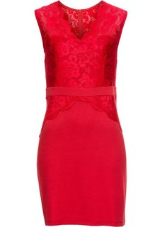 Платье из трикотажа с кружевом (красный) Bonprix
