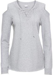 Пуловер на шнуровке с вырезами на плечах (серый меланж) Bonprix