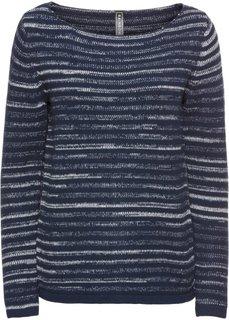 Пуловер вязаный (темно-синий/кремовый в полоску) Bonprix