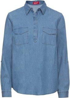Туника джинсовая с длинным рукавом (нежно-голубой) Bonprix