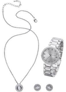 Комплект: часы + цепочка + серьги (3 изд.) (серебристый) Bonprix