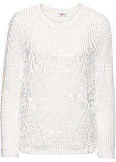 Пуловер с длинным рукавом и кружевной вставкой (кремовый) Bonprix