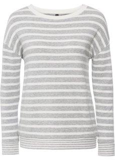 Пуловер вязаный (светло-серый меланж/кремовый в полоску) Bonprix