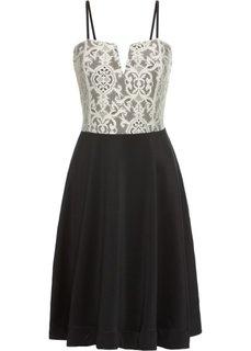 Мини-платье (черный/кремовый) Bonprix