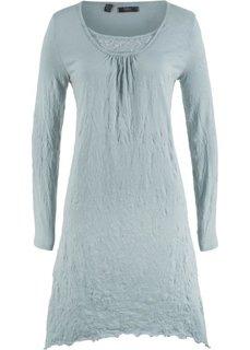 Платье с длинным рукавом из жатого материала (серебристо-серый) Bonprix