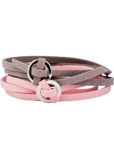 Браслет длинный (2 шт.) (серо-коричневый/розовый) Bonprix
