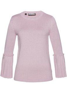 Пуловер с плиссировкой (розовый матовый) Bonprix