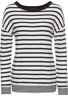 Пуловер вязаный (кремовый/черный в полоску) Bonprix