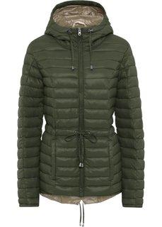 Куртка стеганая легкая (темно-оливковый/бежевый) Bonprix