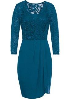 Платье кружевное с запахом (сине-зеленый) Bonprix