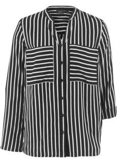 Блузка с длинным рукавом (черный в полоску) Bonprix