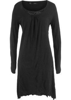 Платье с длинным рукавом из жатого материала (черный) Bonprix