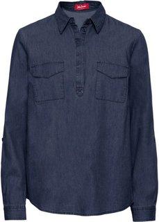 Туника джинсовая с длинным рукавом (темно-синий) Bonprix