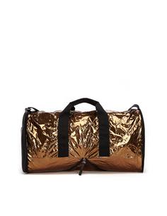 Дорожная сумка из металлизированной ткани и кожи Maison Margiela