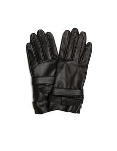 Кожаные перчатки с контрастными швами Yohji Yamamoto
