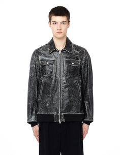 Кожаная куртка с принтом Undercover
