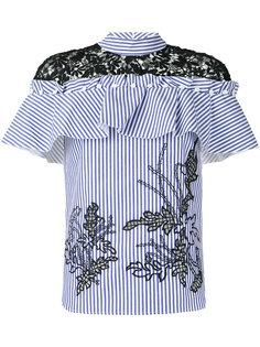 полосатая блузка с кружевными вставками Self-Portrait