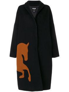 пальто свободного кроя с изображением лошади MSGM
