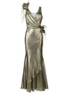 платье без рукавов с цветочным декором Alberta Ferretti