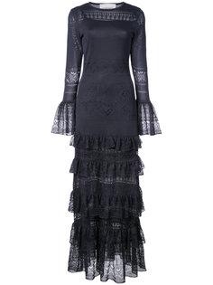 вечернее платье Pointella с многоярусной отделкой Carolina Herrera