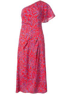 платье с узором из листьев и драпировками Carolina Herrera