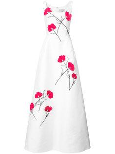 вечернее платье с декором из цветов Carolina Herrera
