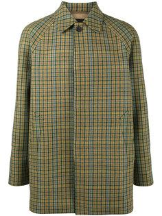 однобортное пальто в клетку Prada