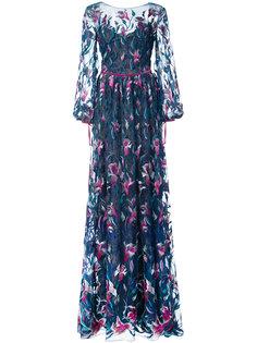 расклешенное вечернее платье с вышивкой Marchesa Notte