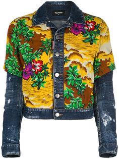 джинсовая куртка с гавайским принтом Dsquared2