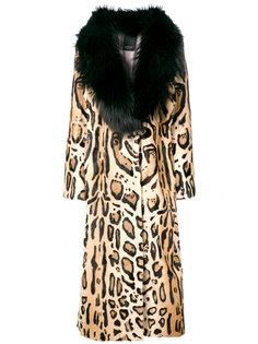 пальто с леопардовым принтом и поясом  Numerootto