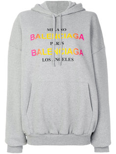 толстовка с капюшоном и разноцветным логотипом Balenciaga