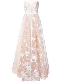 вечернее платье-бюстье с вышивкой Alex Perry