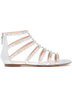 Love studded leather flat cage sandals Valentino