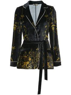 бархатный пиджак с поясом Alberta Ferretti