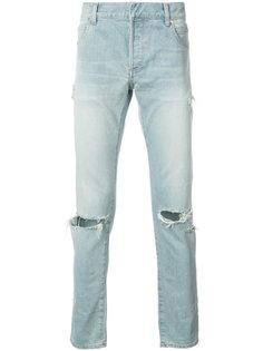 рваные джинсы узкого кроя Balmain