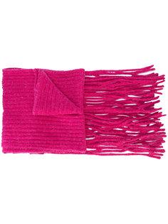 длинный шарф в рубчик с бахромой Helmut Lang