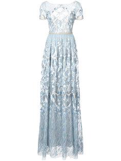 платье с вышивкой и глубоким вырезом сзади  Marchesa Notte